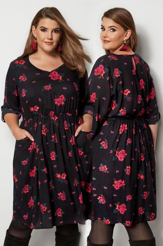 Plus Size Midi Dresses Black & Red Floral Print Dress