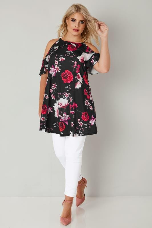 Black & Red Floral Print High Neck Cold Shoulder Top With Frill Detail