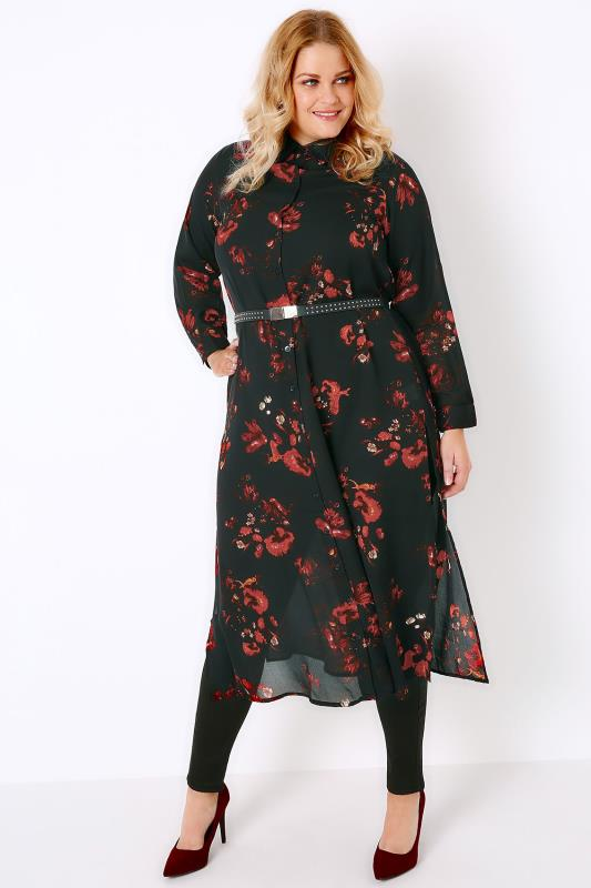 Black & Red Floral Print Maxi Shirt With Side Splits
