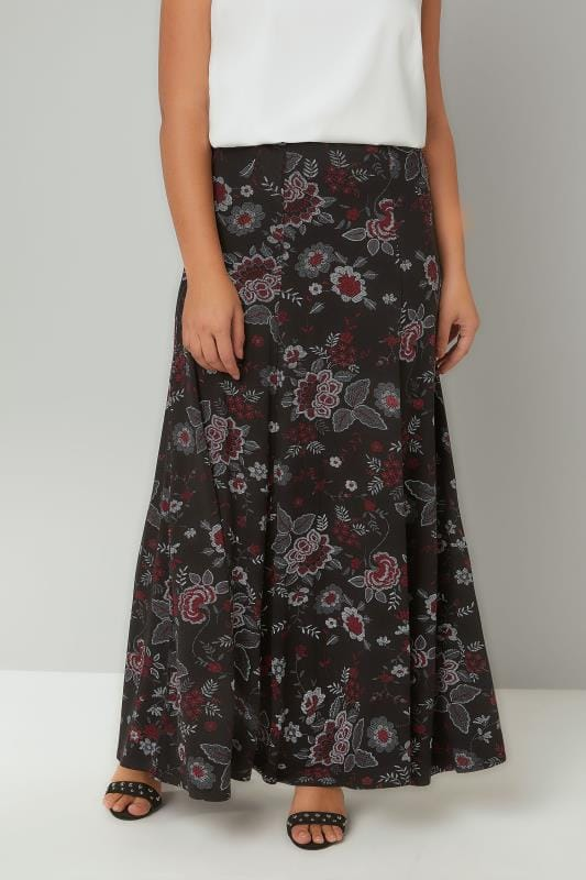 Plus Size Maxi Skirts Black & Red Floral Print Maxi Skirt