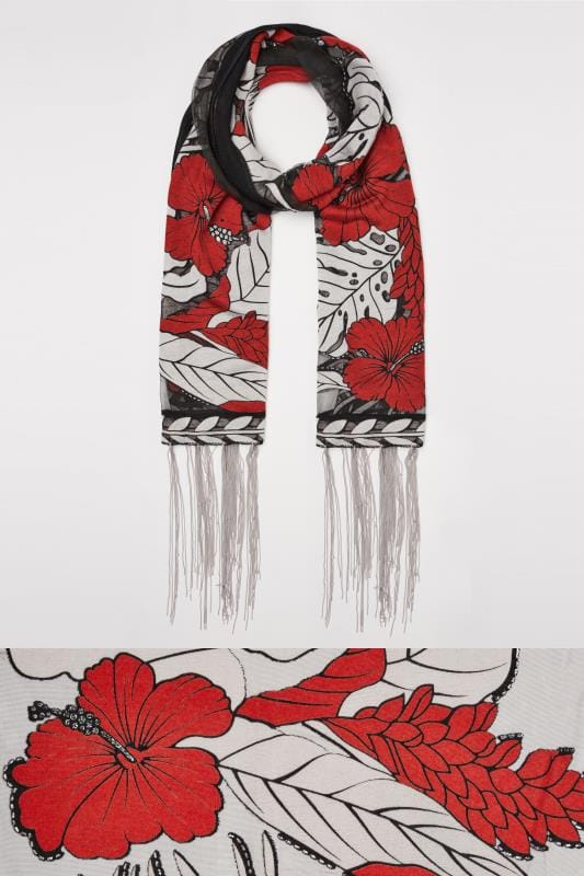 Black & Red Burn Out Floral Print Scarf With Tassels