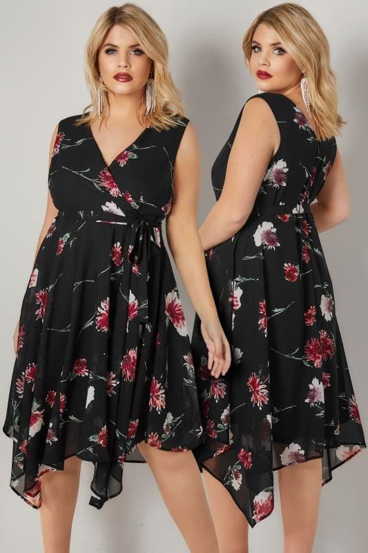 Swing & Shift Dresses Black & Red Floral Print Wrap Dress With Hanky Hem 136207
