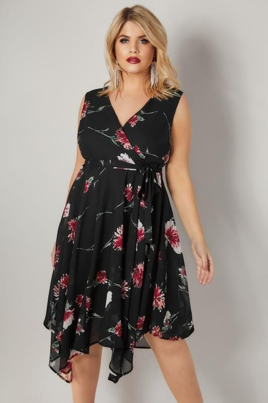 Plus Size Skater Dresses Black & Red Floral Print Wrap Dress With Hanky Hem