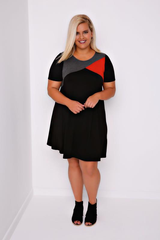 Black, Red & Grey Colour Block Tunic Dress