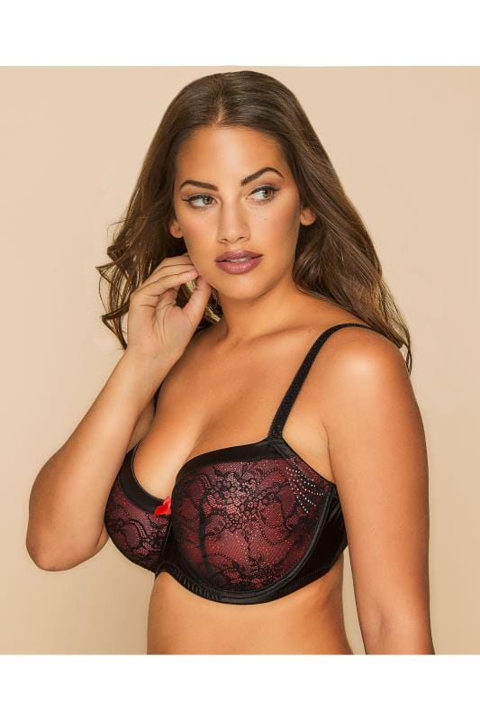 Plus Size Bras Wired Black & Red Lace Diamante Underwired Padded Bra