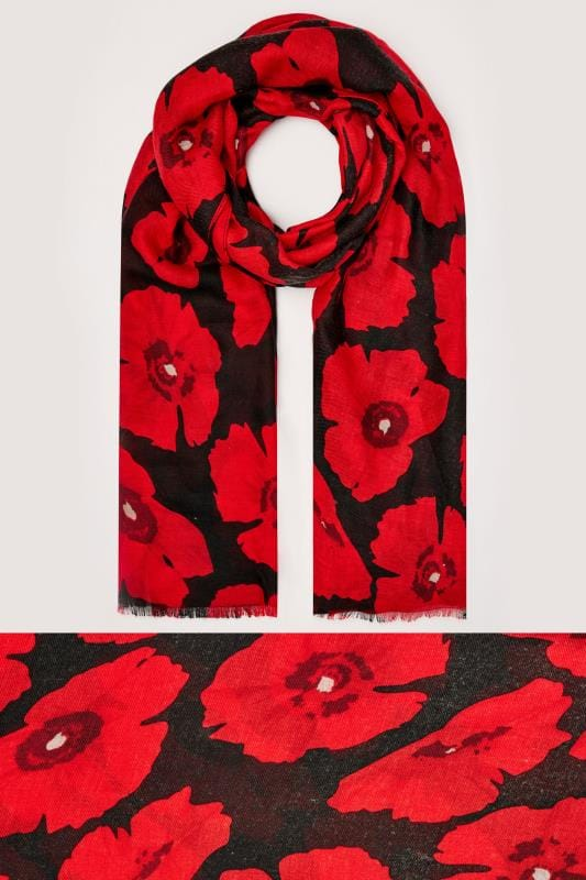 Black & Red Oversized Poppy Scarf With Raw Edge
