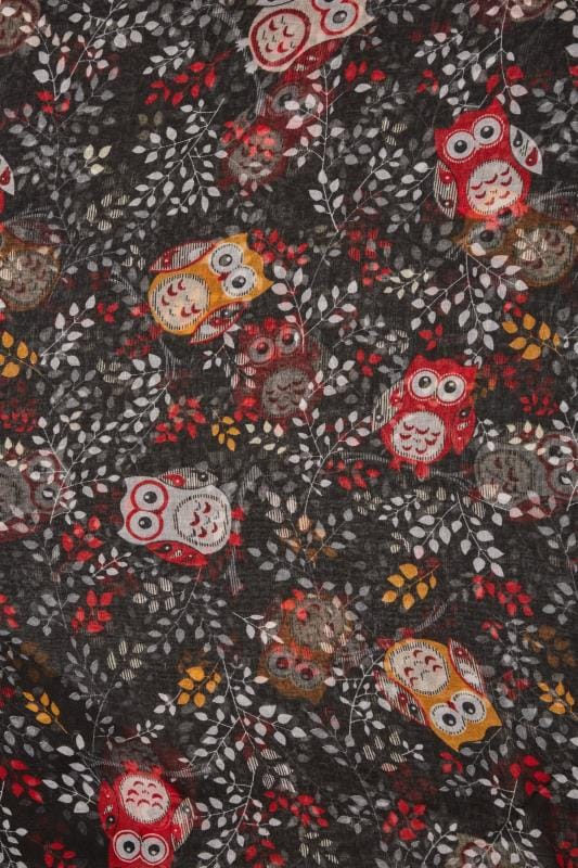 Black & Red Owl Print Scarf