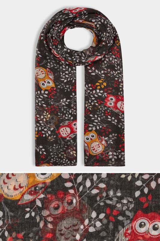 Plus Size Scarves Black & Red Owl Print Scarf