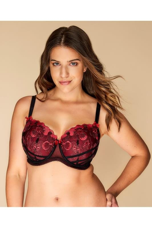 Plus Size Plus Size Wired Bras Black & Red Poppy Embroidered Balcony Bra