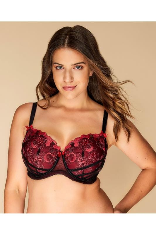 Black & Red Poppy Embroidered Balcony Bra