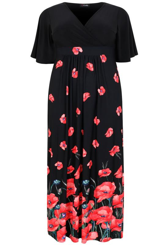 Black Amp Red Poppy Print Wrap Front Maxi Dress Plus Size 16