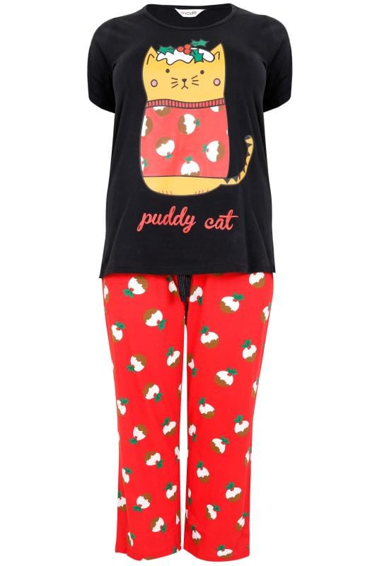 "Pyjama Sets Black & Red ""Puddy Cat"" Christmas Pudding Print Pyjama Set 148118"