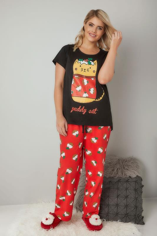 Black & Red 'Puddy Cat' Christmas Pudding Print Pyjama Set