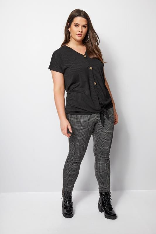 Black Ribbed Tie Front Top