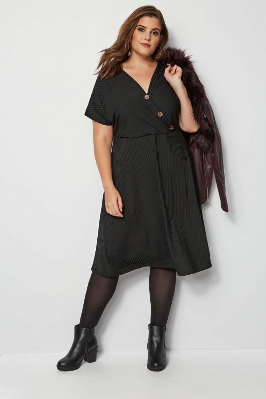 Black Ribbed Wrap Front Dress