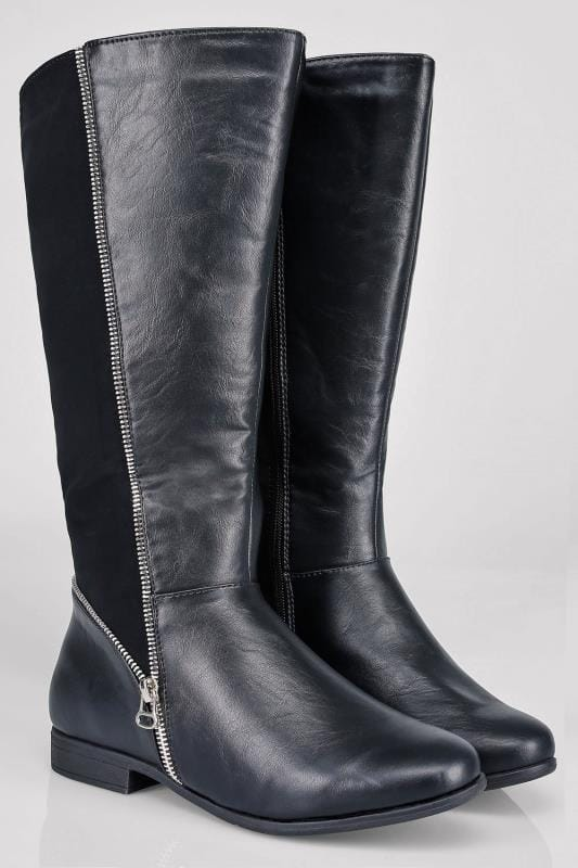 Black Zip Detail Wide Calf Riding Boots With Contrast Panel In EEE Fit