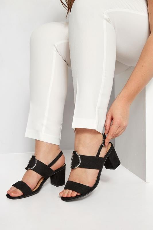 Plus Size Sandals Black Ring Block Heeled Sandals