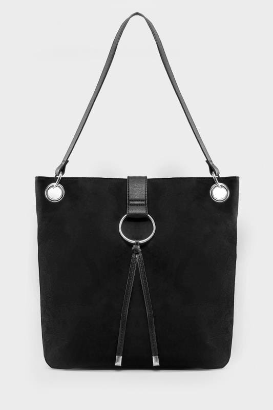 Black Ring Detail Shoulder Bag
