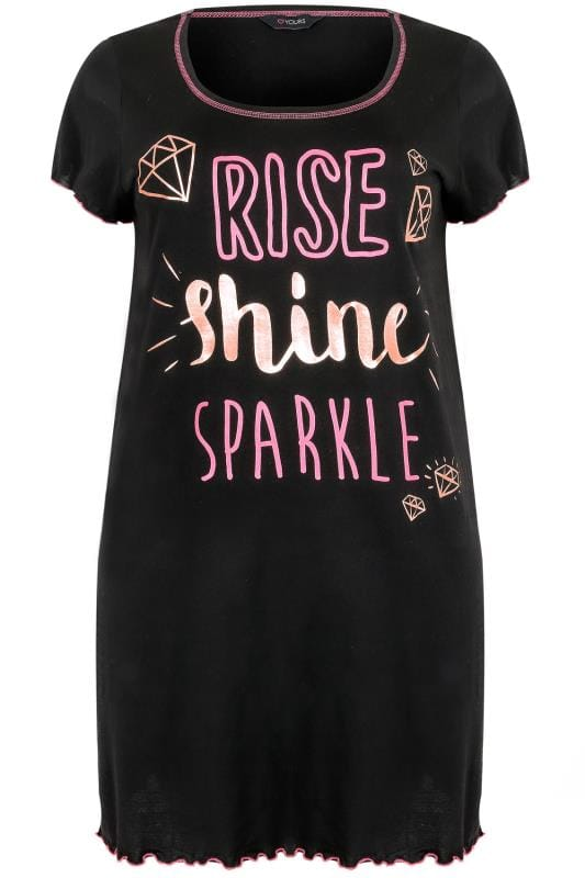 Black 'Rise, Shine & Sparkle' Foil Print Nightdress
