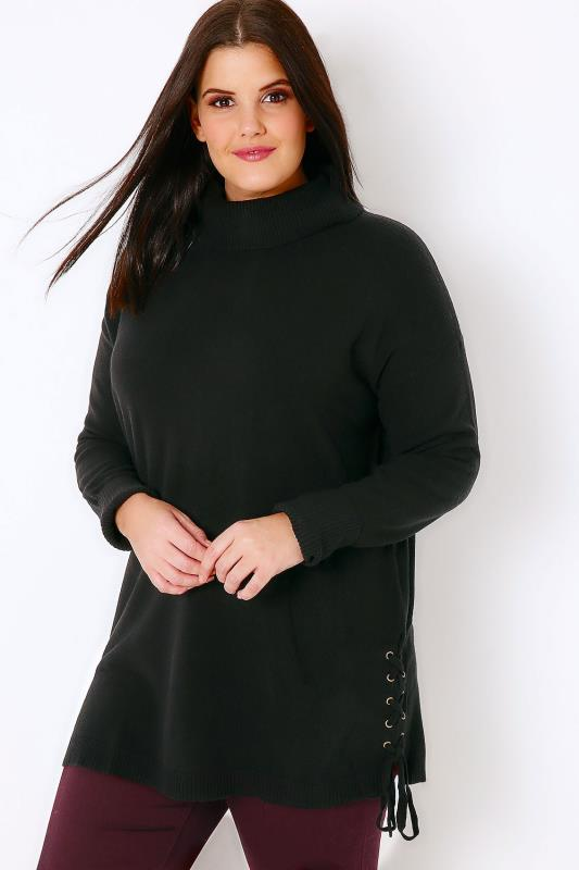 Plus Size Jumpers Black Roll Neck Longline Jumper With Lace Up Hem