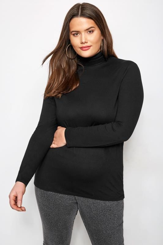 Plus Size Jersey Tops Black Roll Neck Top