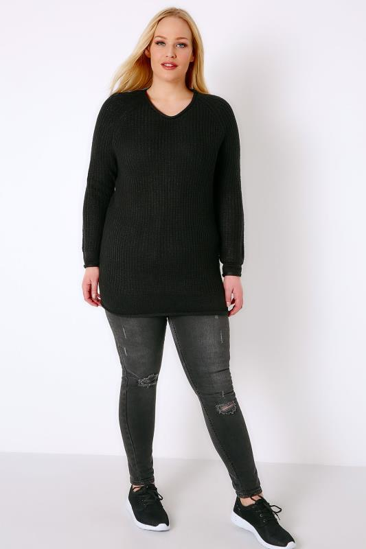 Black Rolled Edge Knitted Scoop Neck Jumper