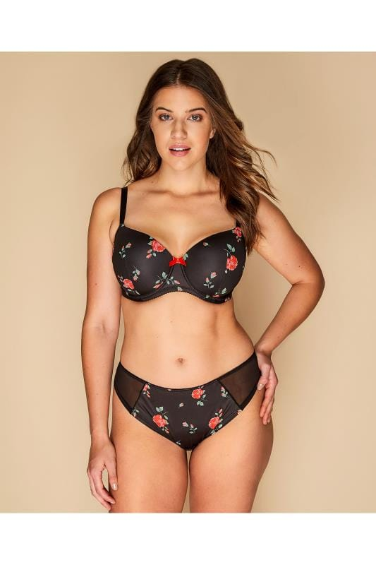 Plus Size Plus Size Briefs Black Rose Print Brazilian Briefs