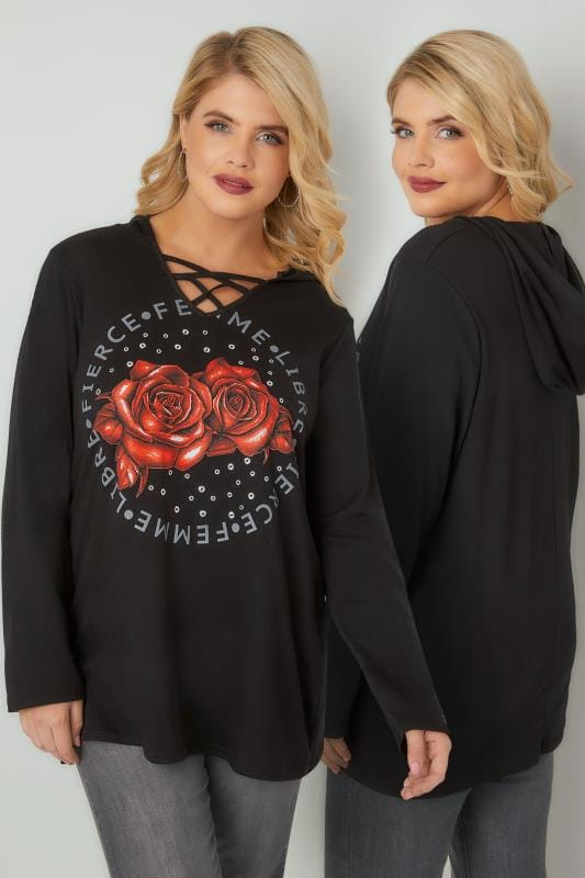 Black Rose Print Hooded Top With Lattice Neckline