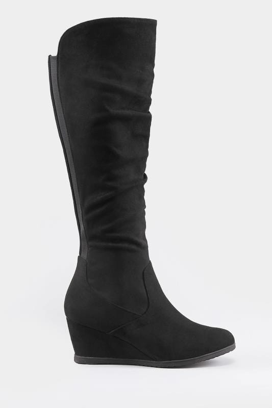 Wide Fit Knee High Boots Black Ruched Knee High Wedge Boot In EEE Fit