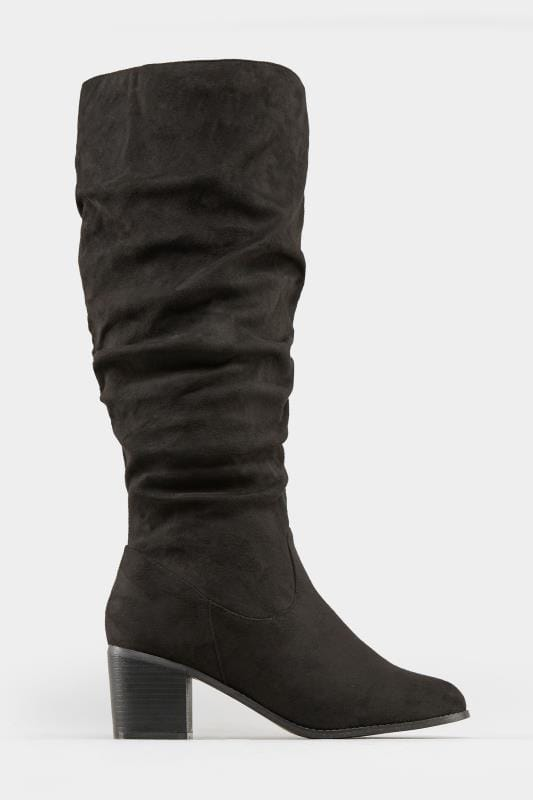 Black Ruched Knee High Boots In EEE Fit