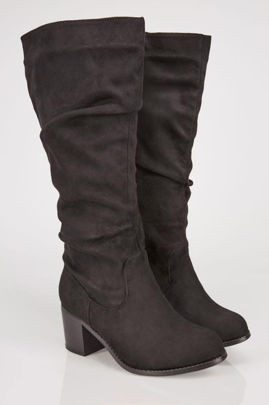 Wide Fit Boots Black Ruched Knee High Block Heel Boots With XL Calf In TRUE EEE Fit
