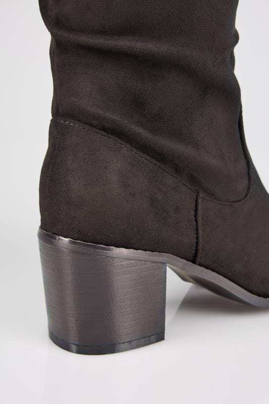 Black Ruched Knee High Block Heel Boots With XL Calf In TRUE EEE Fit