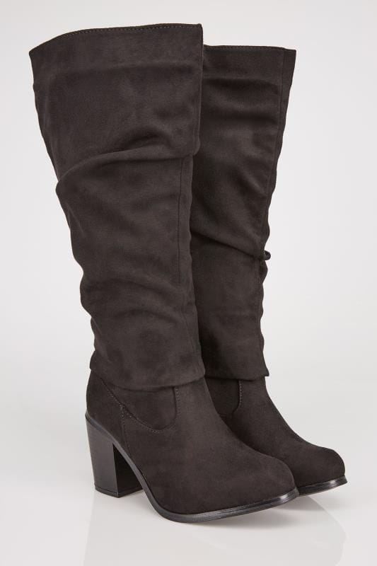 Black Ruched Knee High Suedette Heeled Wide Calf Boot EEE Fit