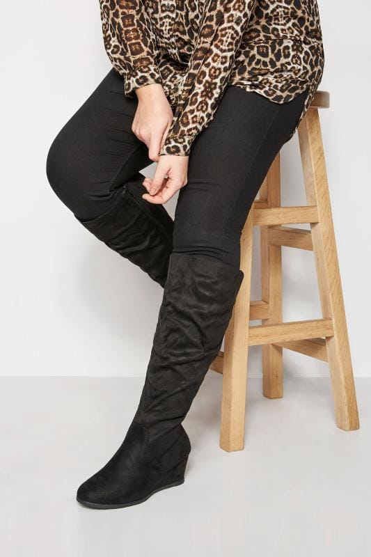 Plus Size Knee High Boots Black Ruched Knee High Wedge Boot In EEE Fit
