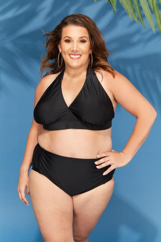 Plus Size Bikinis & Tankinis Black Ruched Side Waist Bikini Brief