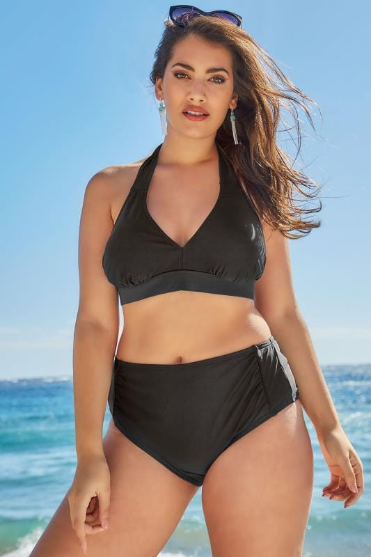 Black Ruched Side Waist Bikini Brief