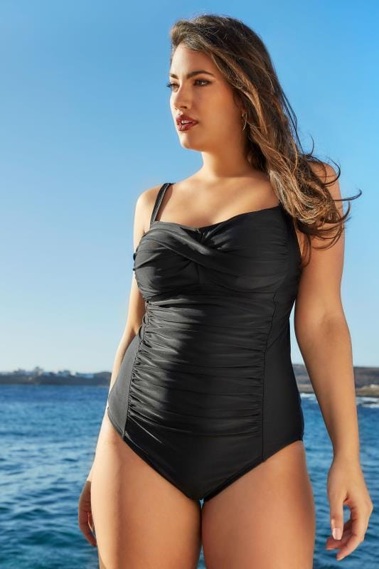Black Ruched Swimsuit With Padded Cups