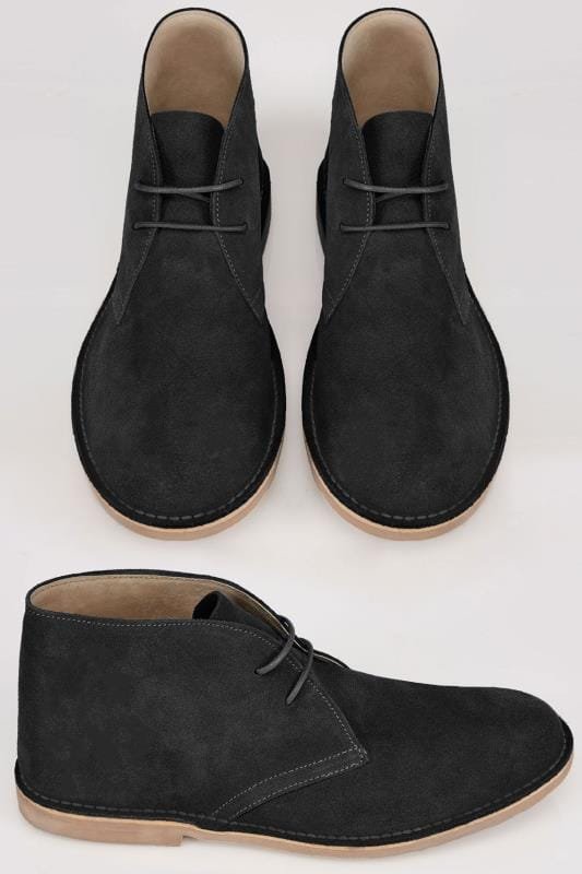 e958e9d9882 Black SUEDE Desert Boot In Wide Fit