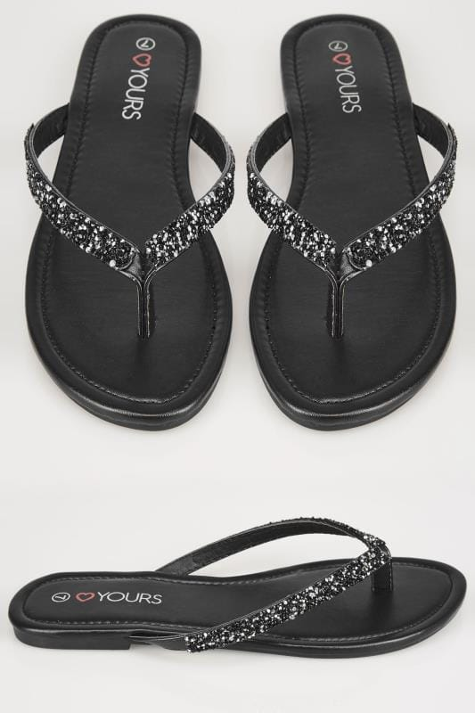 Wide Fit Sandals Black Sandals With Glitter Straps In TRUE EEE Fit