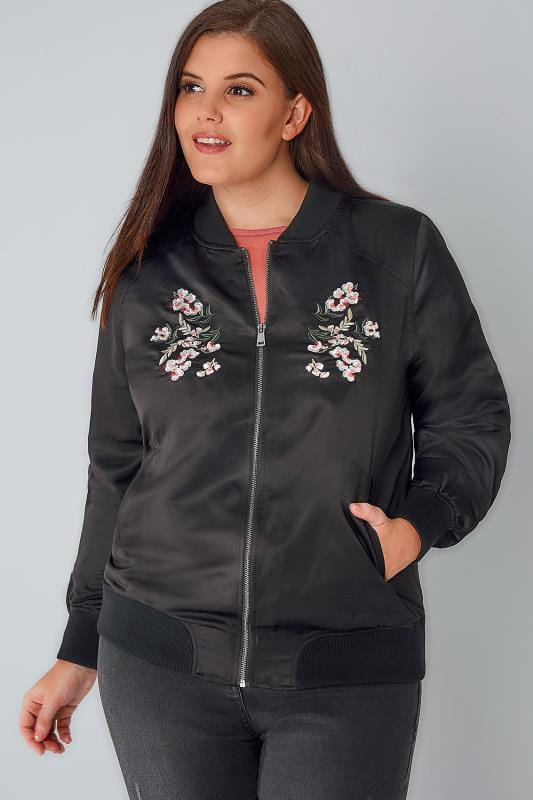 Black Satin Bomber Jacket With Mirror Floral Embroidery