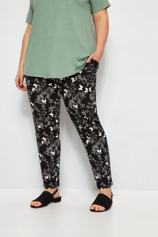 Black Scratch Butterfly Harem Trousers
