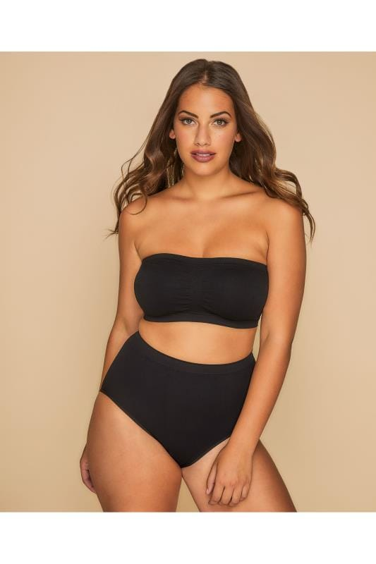 Plus Size Plus Size Bras Non Wire Black Seamless Surefit Bandeau Bra With Soft Padded Full Cups