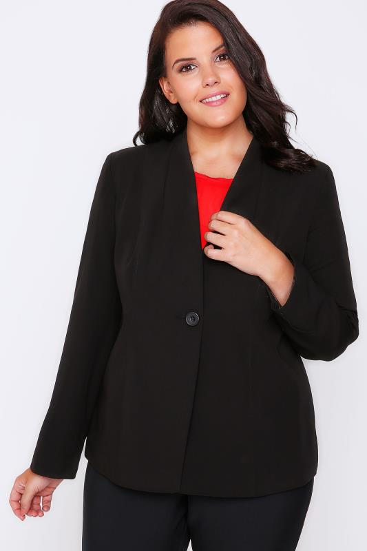 Black Semi-Fitted Fully Lined Single Button Blazer Jacket
