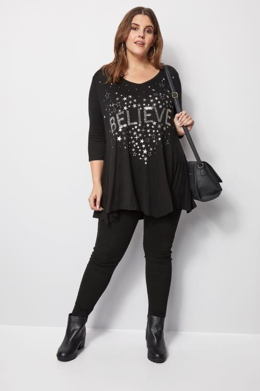 Black Sequin Embellished Top