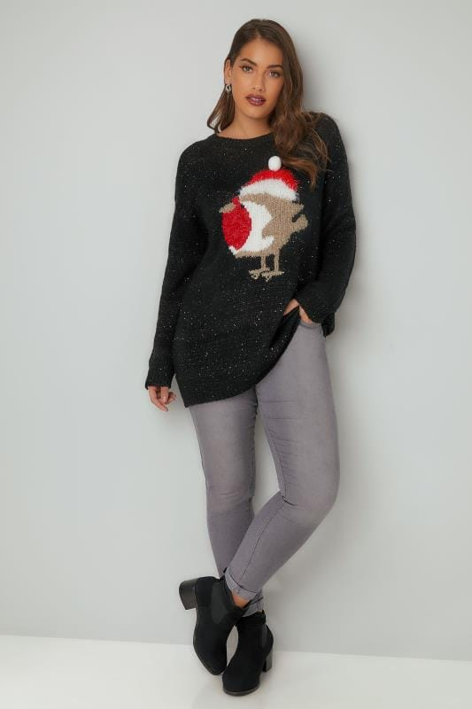 Black Sequin Christmas Robin Knitted Jumper