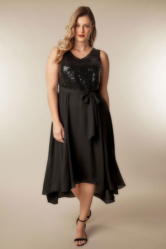 Black Sequin Embellished Dress With Self Tie Waist & Curved Hem