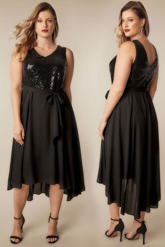 Plus Size Maxi Dresses Black Sequin Embellished Dress With Self Tie Waist & Curved Hem
