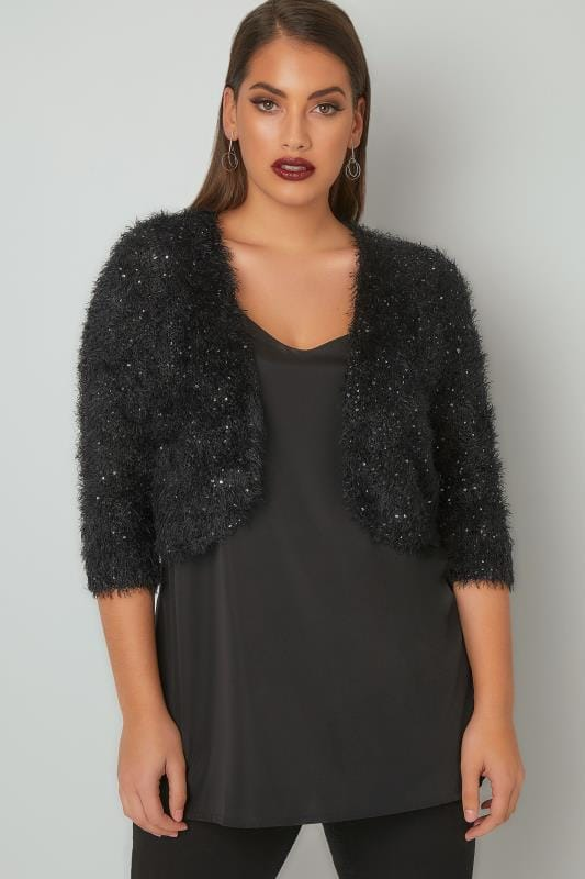 Black Sequin Embellished Eyelash Shrug