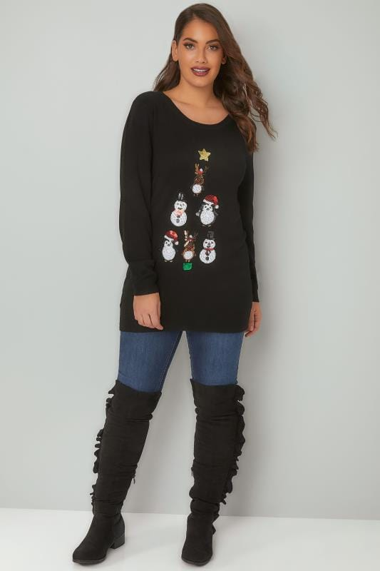 Black Sequin Embellished Fine Knit Christmas Novelty Jumper