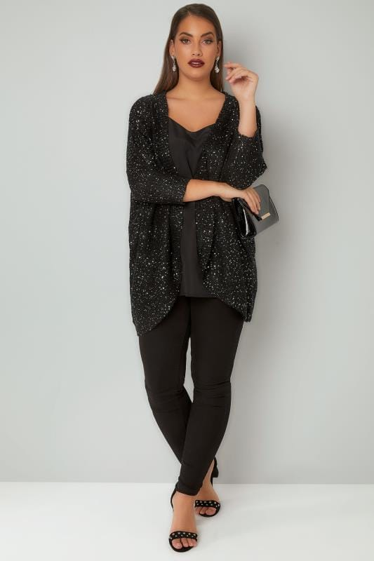 Black Sequin Embellished Knitted Batwing Cardigan